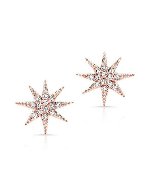 Anne Sisteron | Metallic 14kt Rose Gold Diamond Glimmer Star Stud Earrings | Lyst
