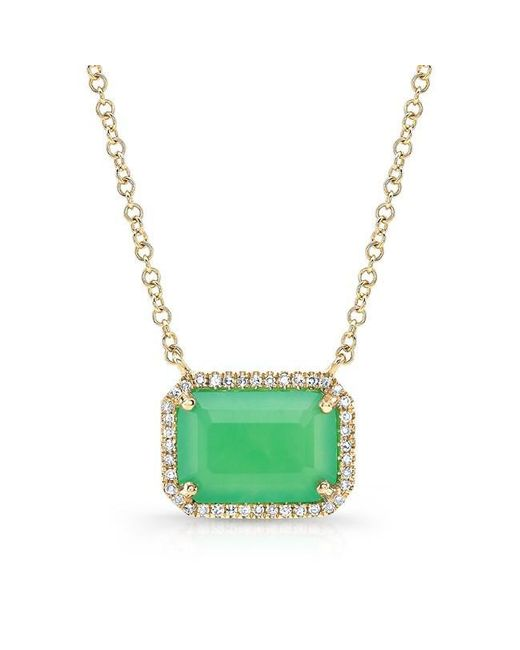 Anne Sisteron | Green 14kt Yellow Gold Chrysoprase Diamond Chic Necklace | Lyst