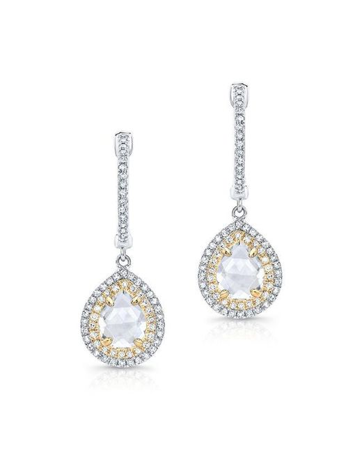 Anne Sisteron | Metallic 14kt White Gold And Yellow Gold White Topaz Diamond Double Halo Earrings | Lyst