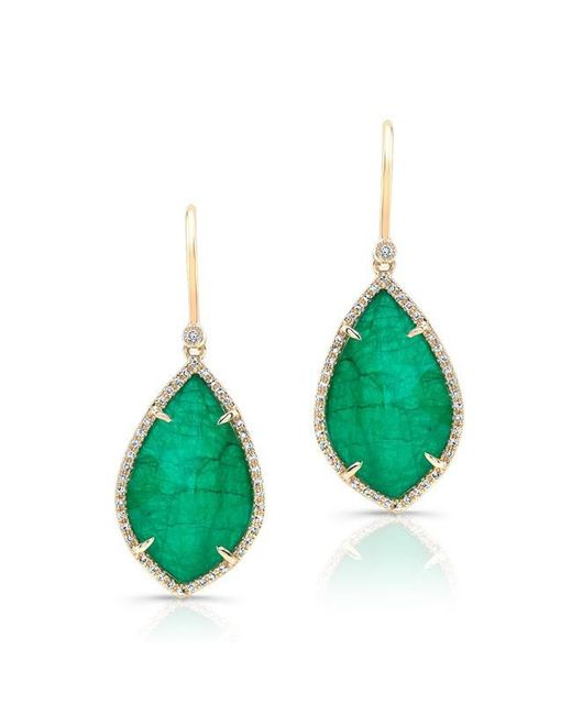 Anne Sisteron | Green 14kt Yellow Gold Emerald Diamond Leaf Earrings | Lyst