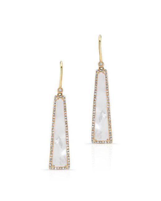 Anne Sisteron | Metallic 14kt Yellow Gold Mother Of Pearl Diamond Hampton Earrings | Lyst