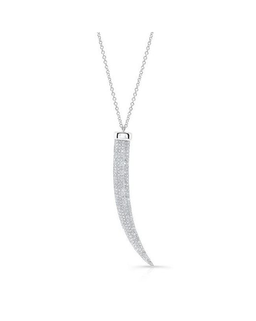 Anne Sisteron | Metallic 14kt White Gold Diamond Tusk Necklace | Lyst