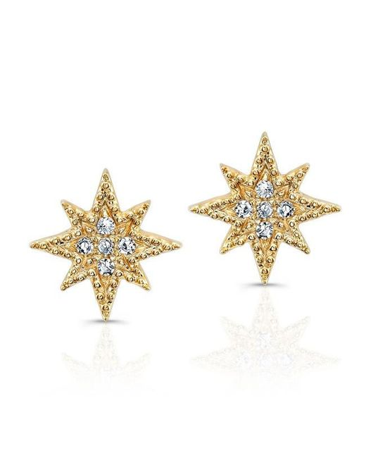 Anne Sisteron | Metallic 14kt Yellow Gold Diamond North Star Stud Earrings | Lyst