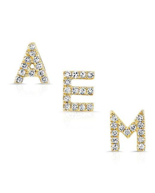 Anne Sisteron | Metallic 14kt Yellow Gold Diamond Alphabet Initial Stud Earring | Lyst