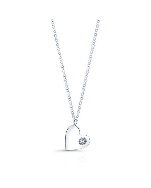 Anne Sisteron | Metallic 14kt White Gold Diamond In My Heart Necklace | Lyst