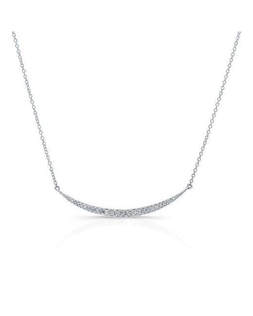 Anne Sisteron | Metallic 14kt White Gold Diamond Mini Lunette Necklace | Lyst