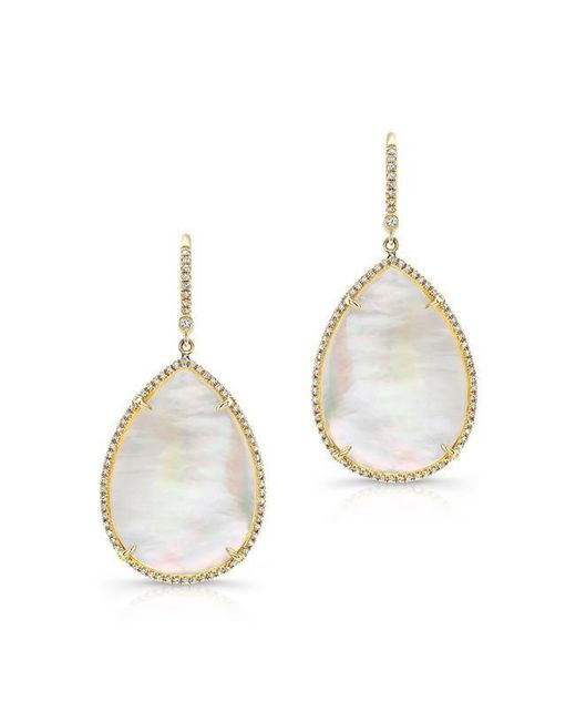 Anne Sisteron | Metallic 14kt Yellow Gold Mother Of Pearl Diamond Pear Earrings | Lyst