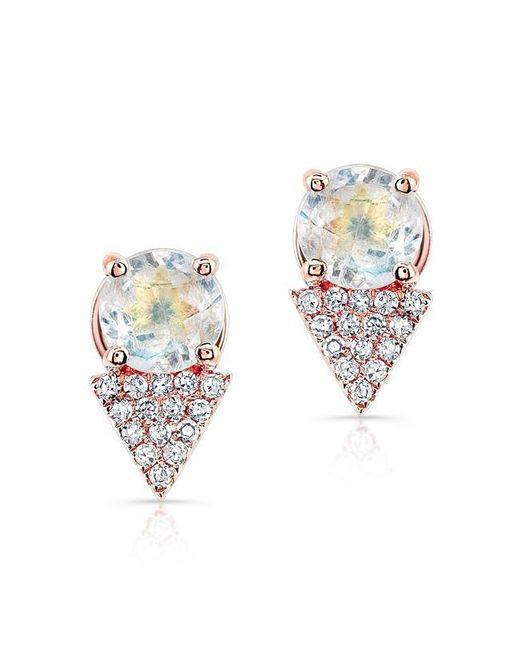Anne Sisteron - Metallic 14kt Yellow Gold Moonstone Diamond Maddie Stud Earrings - Lyst