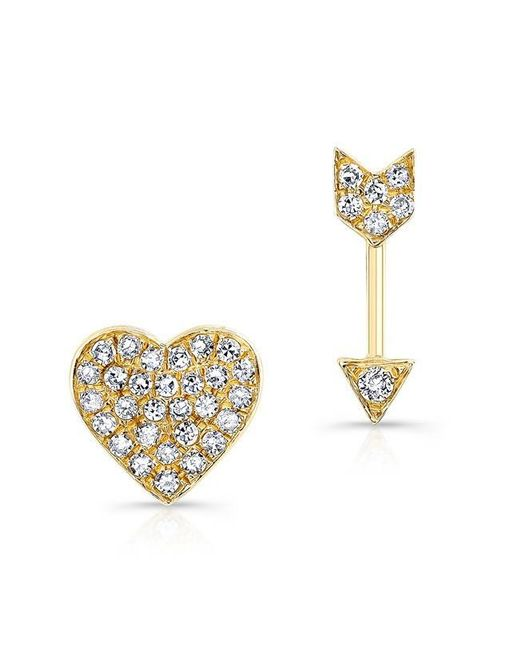 Anne Sisteron | Metallic 14kt Yellow Gold Diamond Cupid Earrings | Lyst