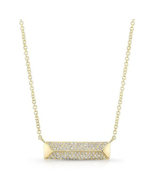 Anne Sisteron | Metallic 14kt Yellow Gold Diamond Pyramid Bar Necklace | Lyst
