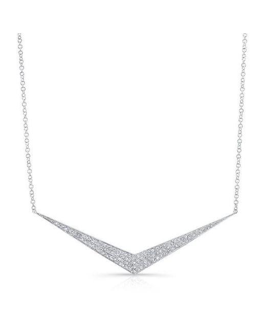 Anne Sisteron | Metallic 14kt White Gold Diamond Chevron Necklace | Lyst