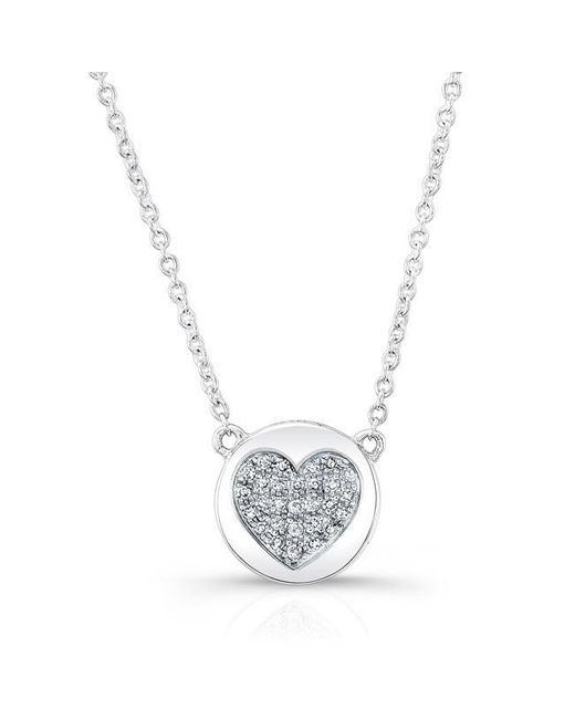 Anne Sisteron | Metallic 14kt White Gold Diamond 2 Sided Heart & Disc Necklace | Lyst