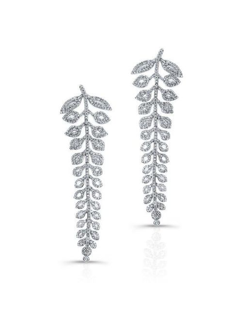 Anne Sisteron | Metallic 18kt White Gold Diamond Vine Earrings | Lyst