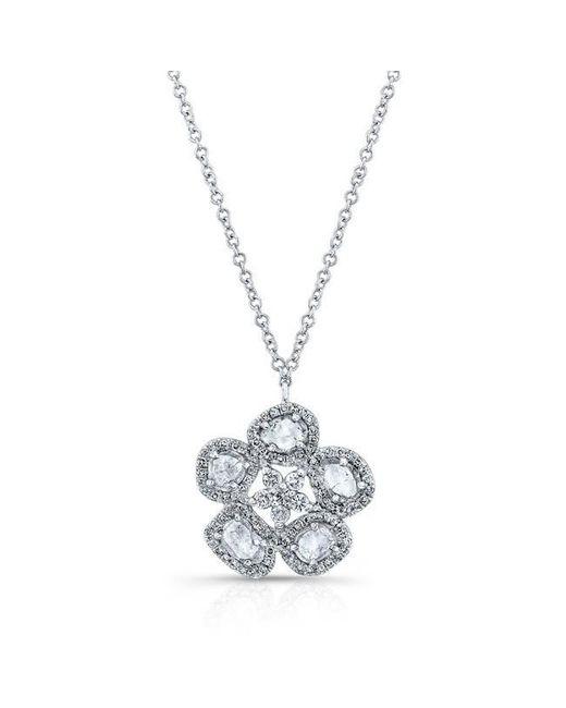 Anne Sisteron | Metallic 14kt White Gold Mae Medium Flower Diamond Slice Necklace | Lyst