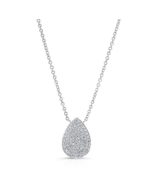 Anne Sisteron | Metallic 14kt White Gold Diamond Medium Pear Shaped Necklace | Lyst