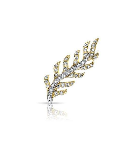 Anne Sisteron   Metallic 14kt Yellow And White Gold Diamond Leaf Ear Climber   Lyst