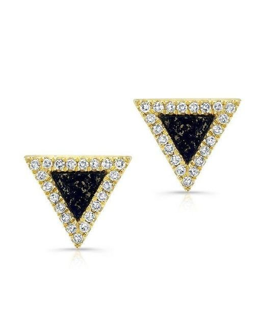 Anne Sisteron | Black 14kt Yellow Gold Lapis Lazuli Diamond Triangle Stud Earrings | Lyst