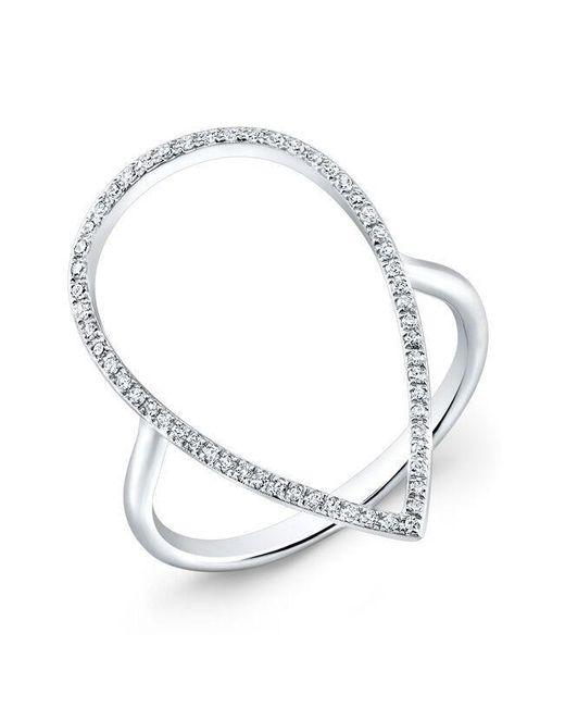 Anne Sisteron | Metallic 14kt White Gold Diamond Open Pear Ring | Lyst