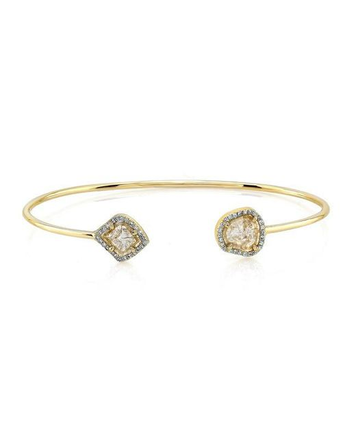 Anne Sisteron | Metallic 14kt Yellow Gold Diamond Slice Cuff | Lyst