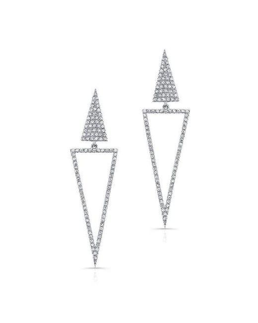 Anne Sisteron | Metallic 14kt White Gold Diamond Open Triangle Drop Earrings | Lyst
