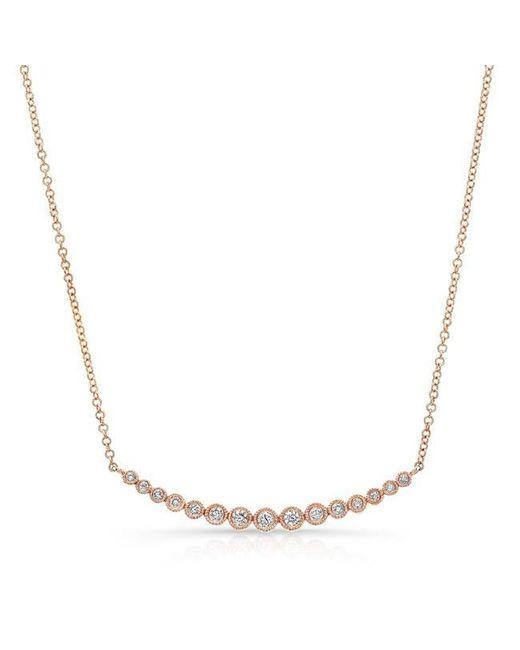 Anne Sisteron   Multicolor 14kt Rose Gold Diamond Crescent Bezel Necklace   Lyst