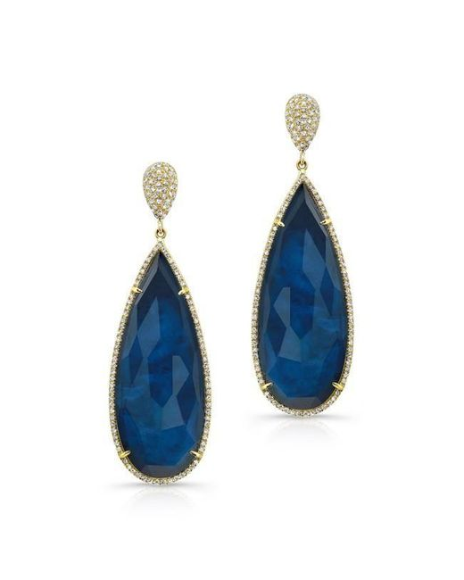 Anne Sisteron | Blue 14kt Yellow Gold Dark Azul Diamond Earrings | Lyst