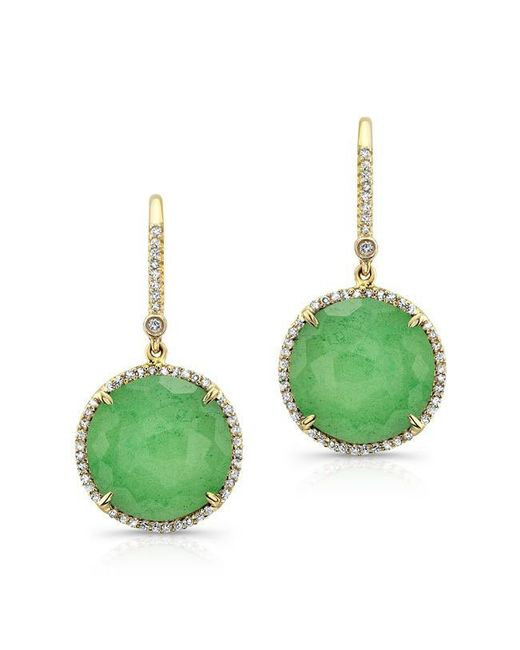 Anne Sisteron | Green 14kt Yellow Gold Chrysoprase Diamond Round Earrings | Lyst