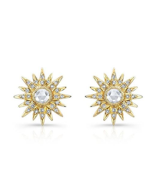 Anne Sisteron | Metallic 14kt Yellow Gold Diamond Vintage Style Starburst Stud Earrings | Lyst