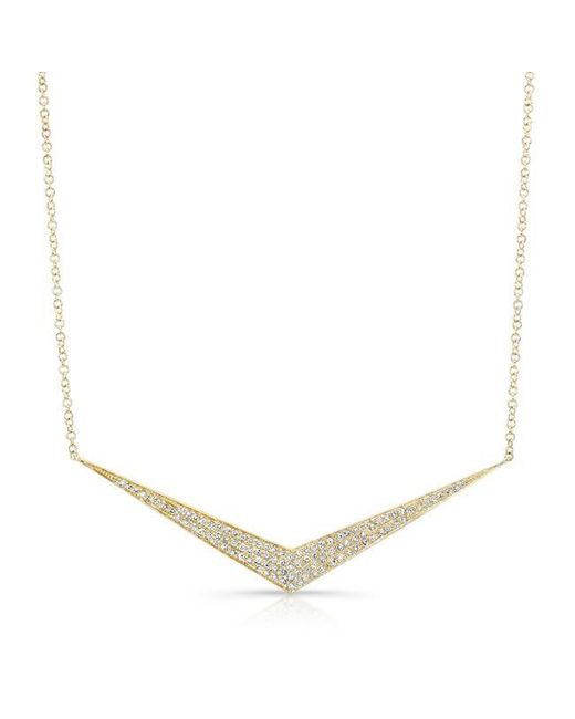 Anne Sisteron | Metallic 14kt Yellow Gold Diamond Chevron Necklace | Lyst