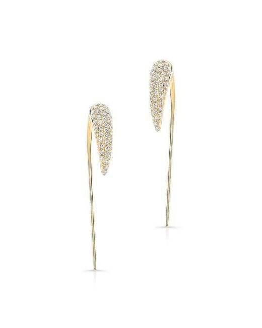 Anne Sisteron - Metallic 14kt Yellow Gold Diamond Horn Long Back Bar Earrings - Lyst