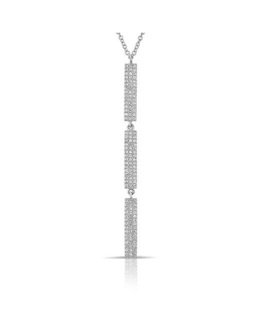 Anne Sisteron | Metallic 14kt White Gold Diamond Triple Bar Drop Necklace | Lyst