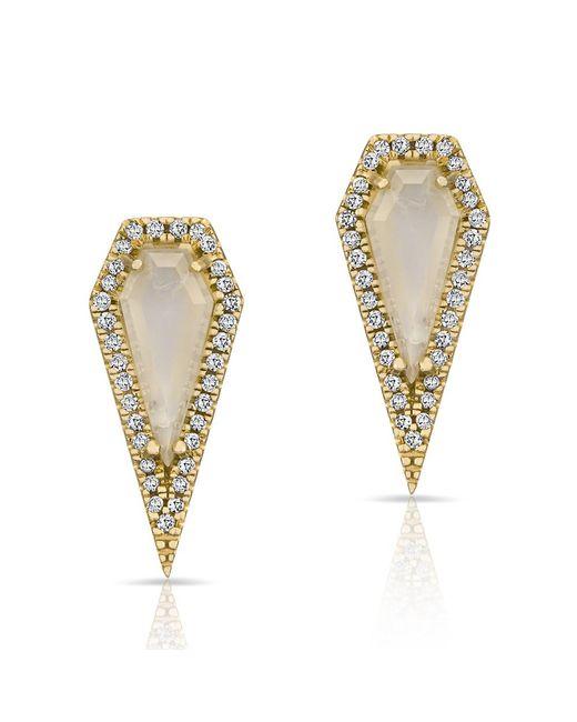 Anne Sisteron | Metallic 14kt Yellow Gold Moonstone Diamond Shield Earrings | Lyst