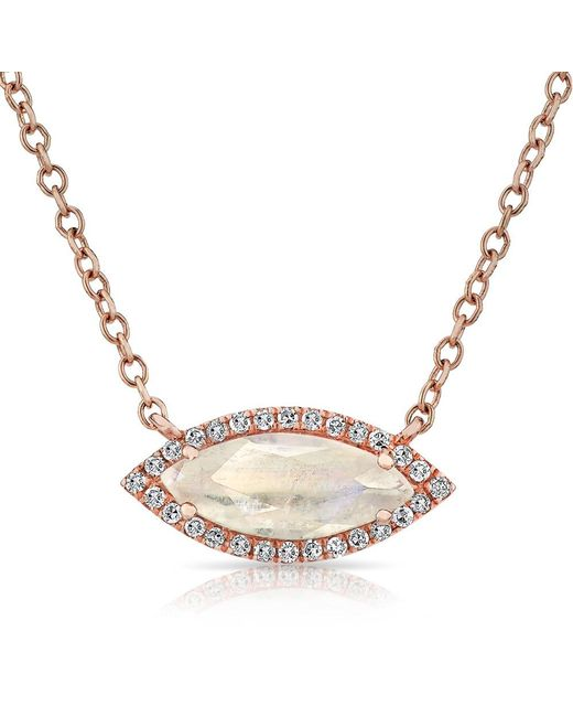 Anne Sisteron   Metallic 14kt Rose Gold Moonstone Diamond Mini Marquis Necklace   Lyst