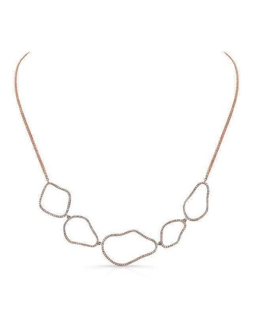 Anne Sisteron Metallic 14kt Rose Gold Diamond Organic Shape Necklace