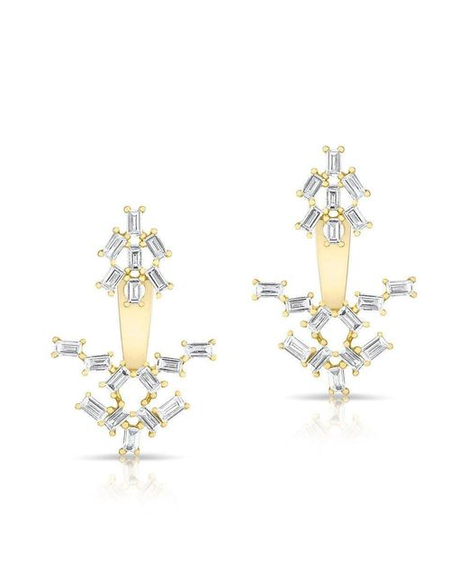 Anne Sisteron | Metallic 14kt Yellow Gold Baguette Diamond Anastasia Floating Earrings | Lyst