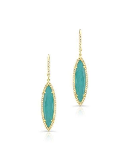 Anne Sisteron | Blue 14kt Yellow Gold Diamond Turquoise Turquesa Marquis Earrings | Lyst