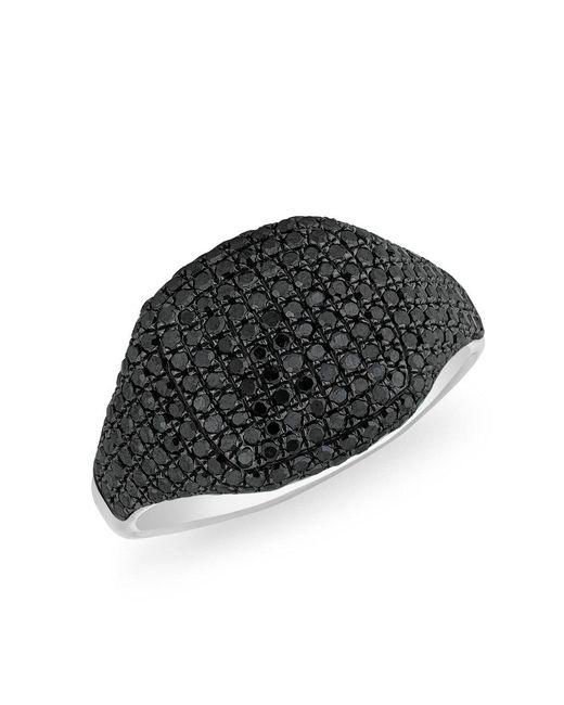 Anne Sisteron - 14kt White Gold Black Diamond Cushion Pinkie Ring - Lyst