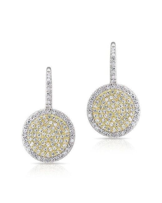 Anne Sisteron - Metallic 14kt White Gold And Yellow Gold Diamond Disc Earrings - Lyst