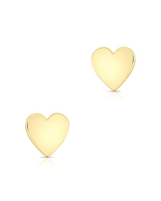 Anne Sisteron - Multicolor 14kt Solid Yellow Gold Heart Stud Earrings - Lyst