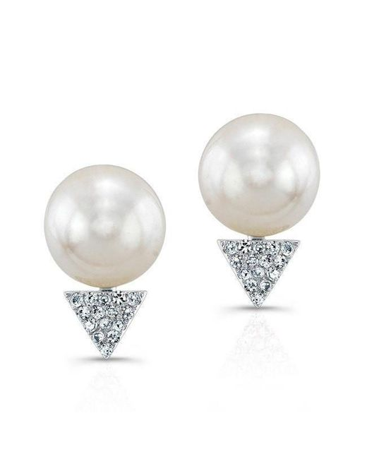 Anne Sisteron | Multicolor 14kt White Gold Pearl Diamond Triangle Stud Earrings | Lyst