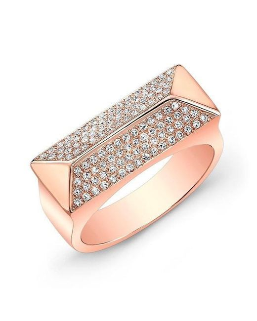Anne Sisteron - Multicolor 14kt Rose Gold Diamond Pyramid Bar Ring - Lyst