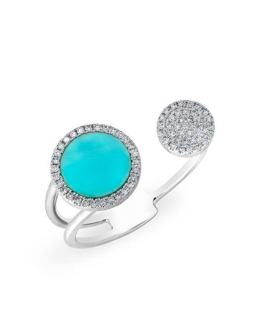 Anne Sisteron - Multicolor 14kt White Gold Diamond Turquoise Disc Nikki Ring - Lyst