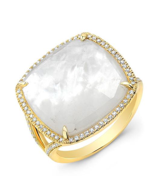 Anne Sisteron   Metallic 14kt Yellow Gold Mother Of Pearl Diamond Doublet Ring   Lyst