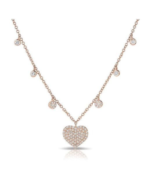 Anne Sisteron - Metallic 14kt Rose Gold Diamond Heart And Droplets Necklace - Lyst
