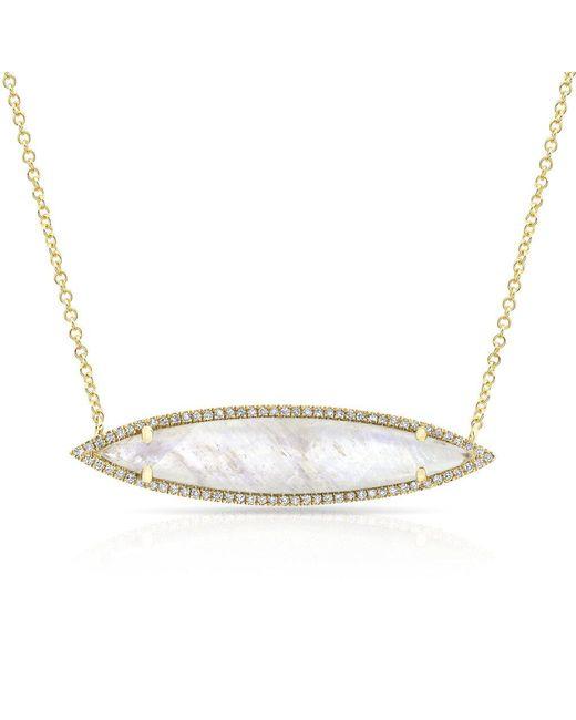 Anne Sisteron - Metallic 14kt Rose Gold Diamond Labradorite Marquis Necklace - Lyst