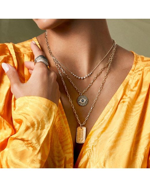 """Anne Sisteron Multicolor 14kt Yellow Gold 22"""" Linked Chain Lyla Necklace"""