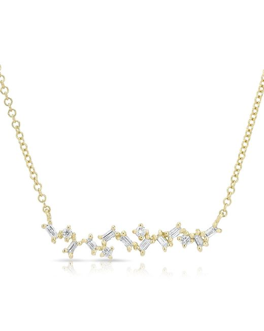 Anne Sisteron | Metallic 14kt Yellow Gold Diamond Jagged Bar Necklace | Lyst