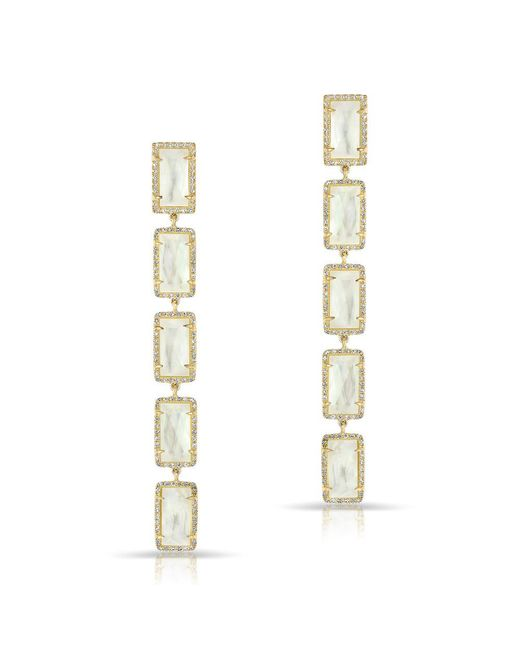 Anne Sisteron | Metallic 14kt Yellow Gold Mother Of Pearl Diamond Five Rectangle Drops Shandi Earrings | Lyst