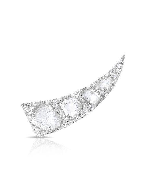 Anne Sisteron - Metallic 14kt White Gold Diamond Slice Horn Ear Climber - Lyst