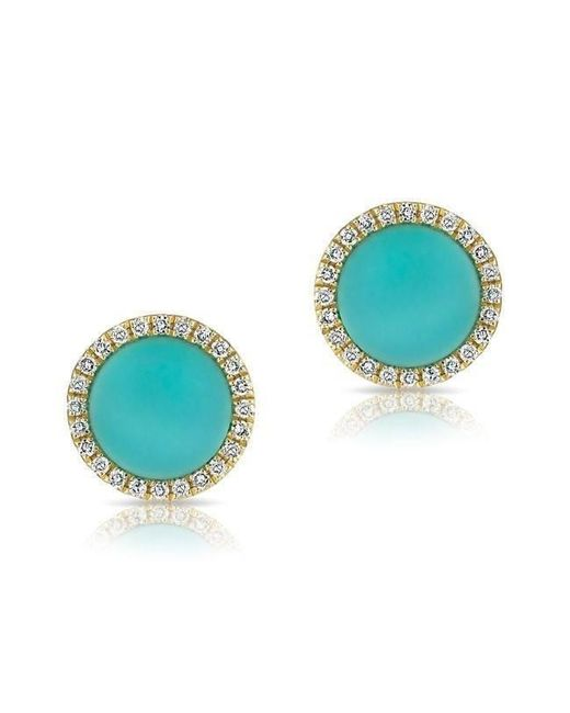 Anne Sisteron Blue 14kt Yellow Gold Turquoise Diamond Disc Stud Earrings